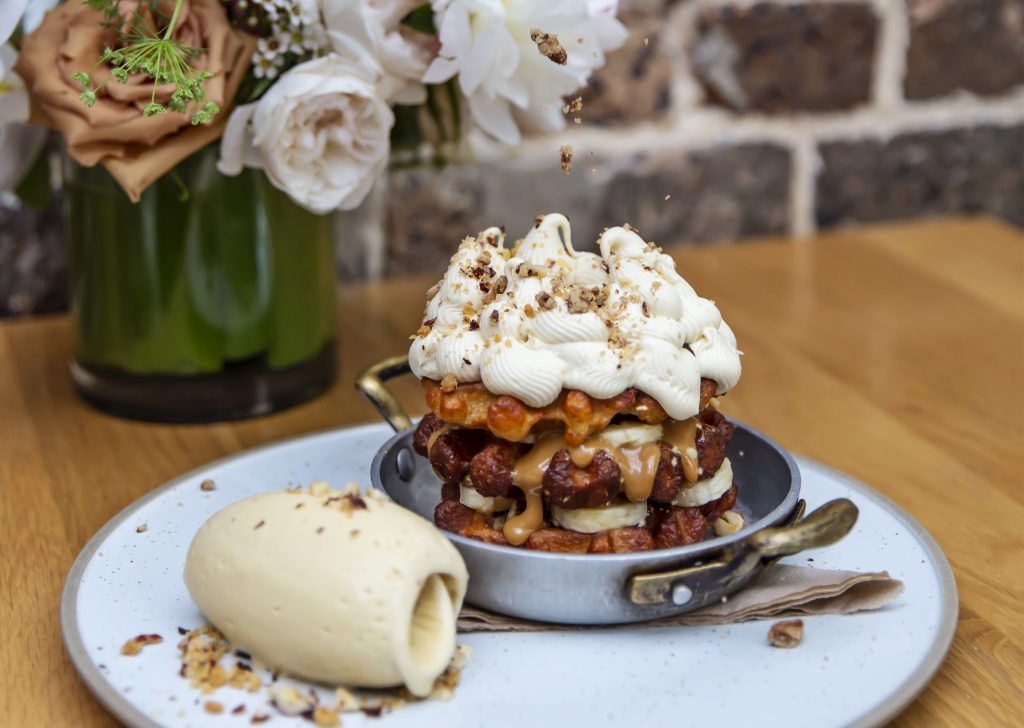 Banoffee Pie Waffles with passionfruit ice cream at QBF Eatery