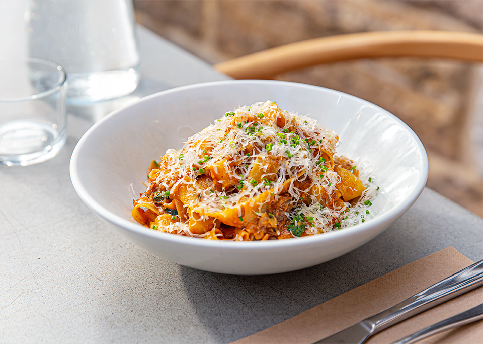 Bowl of fresh pasta at Pyrmont cafe QBF Eatery